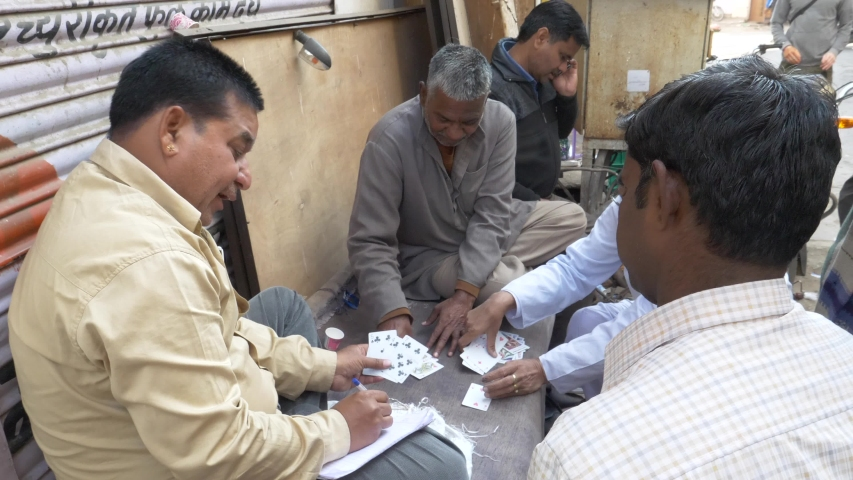 Jaipur/India 01.02.2019 A Group Of  Men Play A Card game in India #1030343246