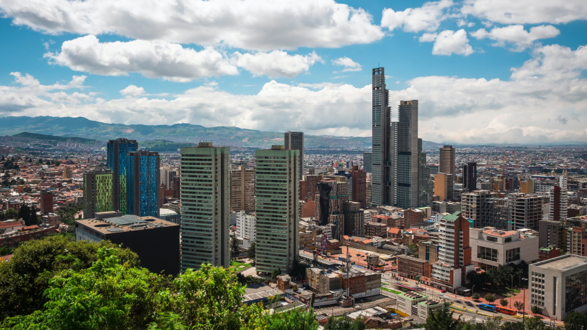 Bogota, Colombia, time lapse view of Bogota cityscape on a sunny day. Bogota is the capital of Colombia and one of the largest cities in South America. | Shutterstock HD Video #1030431656