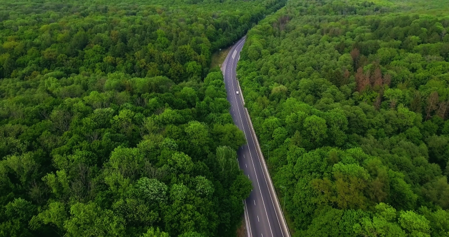 Aerial view flying over road with car moving, that through lane green forest. Car driving along the forest road. AERIAL: Car driving through pine forest. Drone shot from above #1030548206