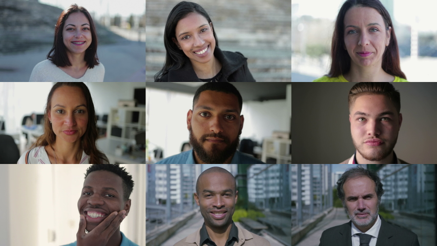 Collage of medium shots of young and middle-aged people of different races being inside and outside, looking at camera, smiling. Lifestyle concept