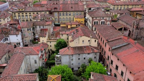 Lucca, Tuscany, Italy - 29/04/2019: A view of Lucca city from the Guinigi Tower