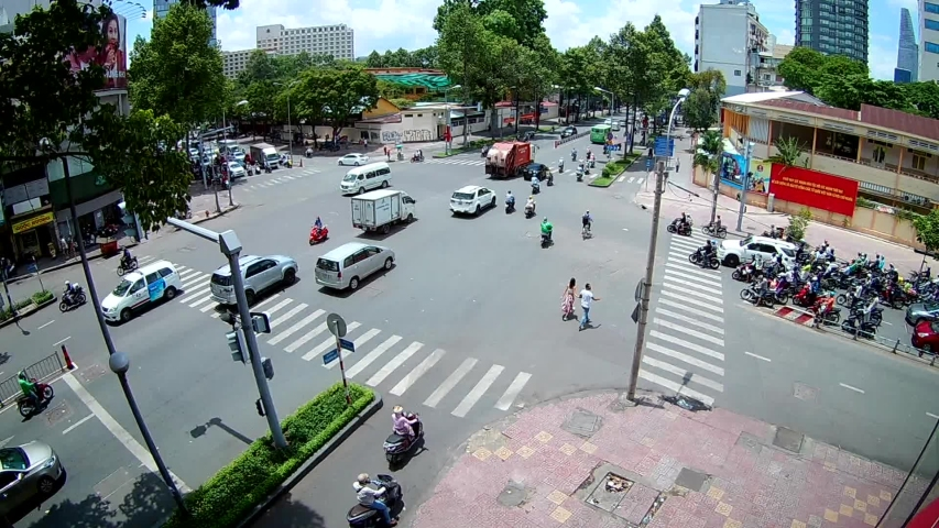 HO CHI MINH CITY.VIETNAM:MAY 8.2017 :Ho chi minh city traffic at Intersection , Vietnam #1030656506