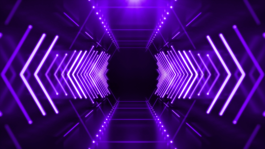 Abstract Neon Hexagon Tunnel seamless looping animated background. Technology 4K video concept. Moving forward inside fluorescent ultraviolet glowing light lines.  | Shutterstock HD Video #1030681406