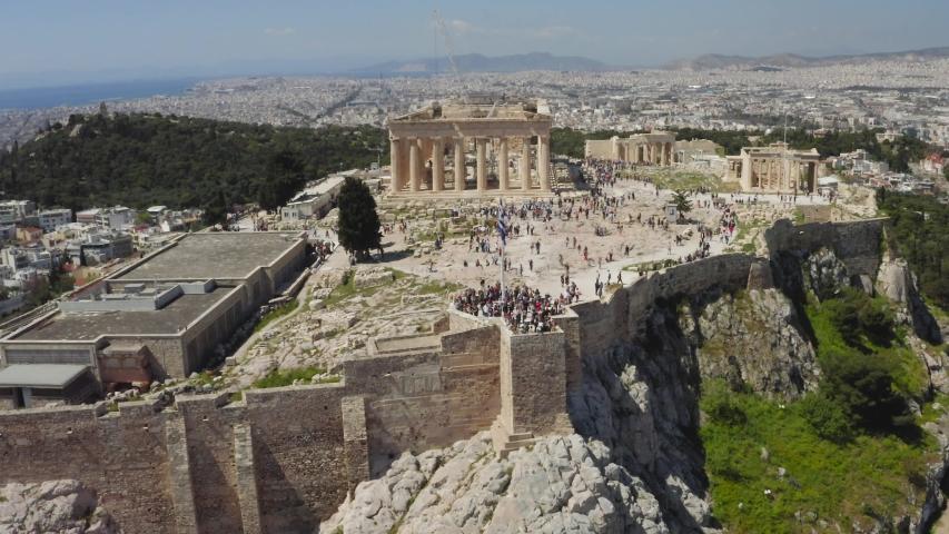 Parthenon, Acropolis, Athens, Greece. Drone shot / bird's eye aerial view. | Shutterstock HD Video #1030778936