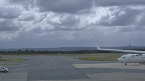 Perth, Western Australia / Australia - 10 16 2018: Qantas airline taxiing at airport