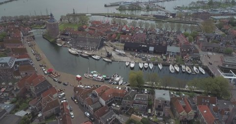 Aerial of sailing boats moored in the historic Dutch town Enkhuizen in North Holland the Netherlands