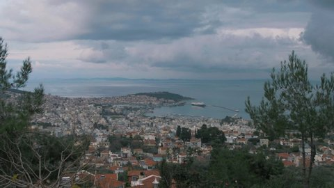 Mytilene, Greece - 12 21 2018: Scenic handheld wide shot of Mytilene