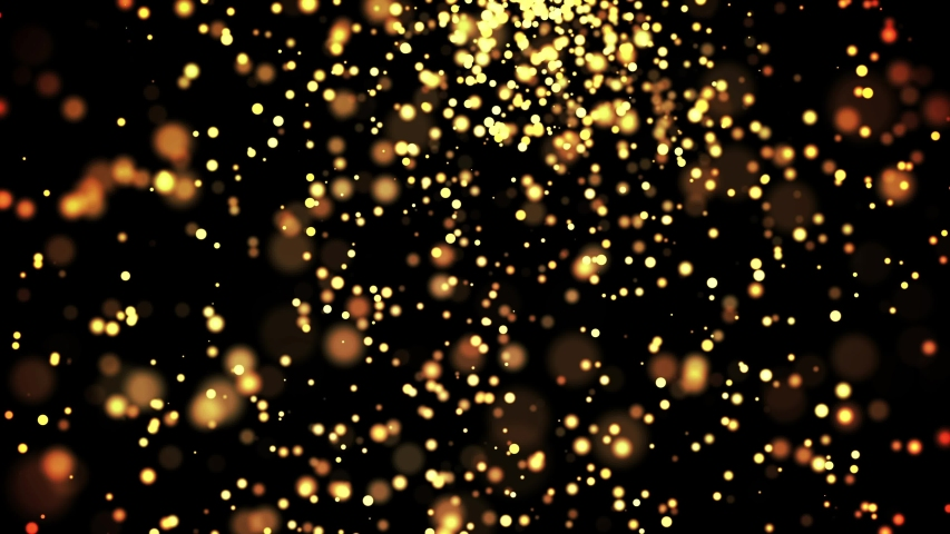 gold particles in liquid float and glisten. Background with glittering golden particles depth of field and bokeh. Luma matte to cut out glowing particles for holiday presentations. 4k 3d animation. 3 #1030915406