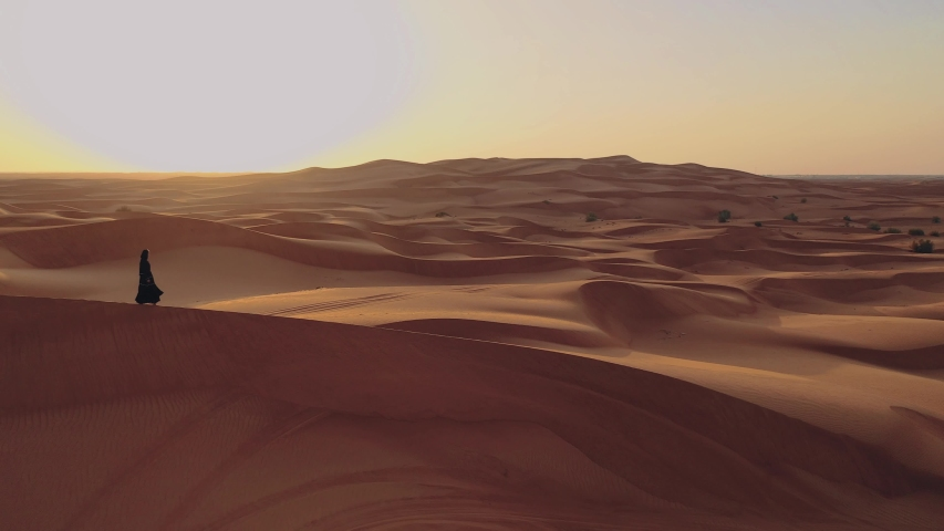Aerial view from a drone flying next to a woman in abaya United Arab Emirates traditional dress walking on the dunes in the desert of the Empty Quarter. Abu Dhabi, UAE. | Shutterstock HD Video #1031054006