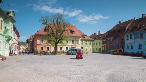 Timelapse of People visiting the medieval old city center of Sighisoara