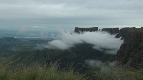 Clouds forming along the peaks of the Drakensberg