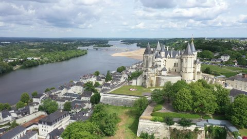 Aerial view of Castle and loire Valley, France. Saumur Castle was built in the tenth century and rebuilt in the late twelfth century
