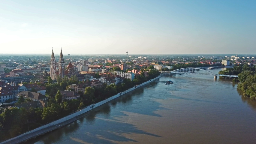 Aerial skyline of Szeged and the river Tisza   Shutterstock HD Video #1031179586