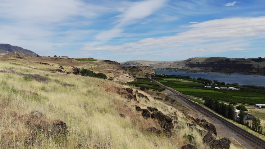 The Columbia River Valley between Washington and Oregon   Shutterstock HD Video #1031211236