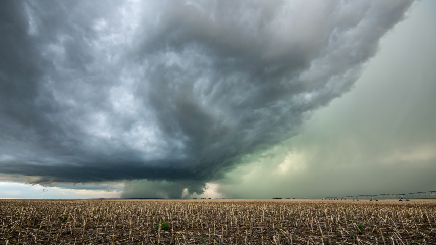 Time lapse of tornado warned supercell storm rolling through the Nebraska plains as it moves over the landscape as it changes shape. | Shutterstock HD Video #1031220146