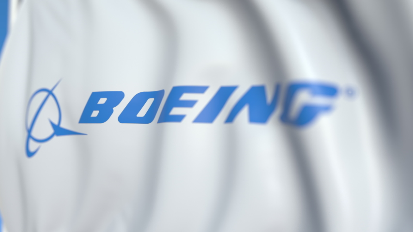 Waving flag with Boeing logo, close-up. Editorial loopable 3D animation. USA 2019 | Shutterstock HD Video #1031296766