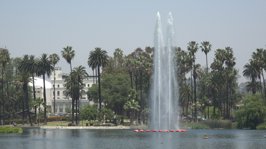 Beautiful fountain in the lake at Echo Park in Los Angeles | Shutterstock HD Video #1031338406