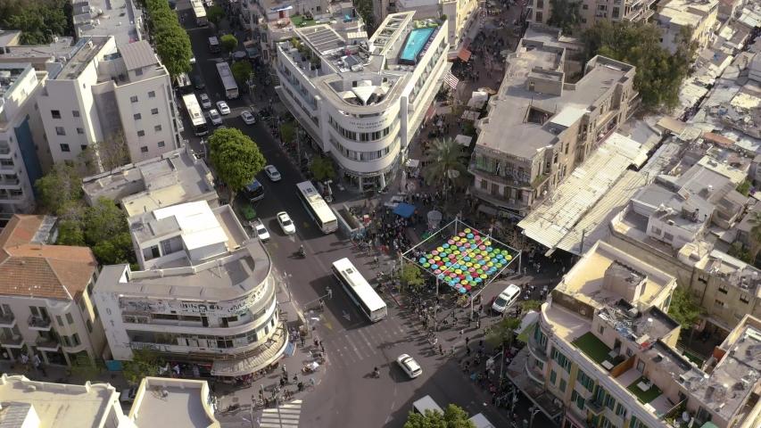 Tel Aviv city center, roads and traffic, Israel, aerial skyline 4k  | Shutterstock HD Video #1031498876