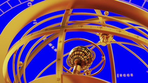 Armillary Sphere And Zodiac Signs On Blue Screen. 3D Animation.