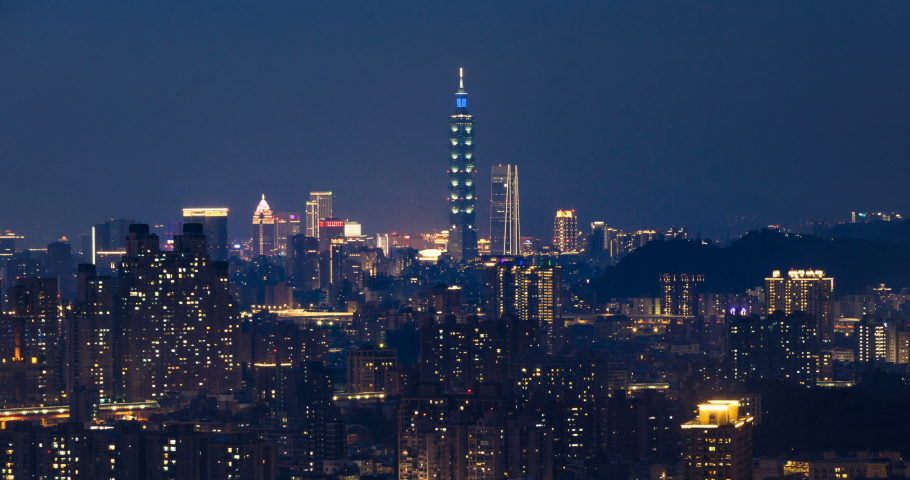 Beautiful aerial time lapse view of Taipei city during day to night | Shutterstock HD Video #1031516576