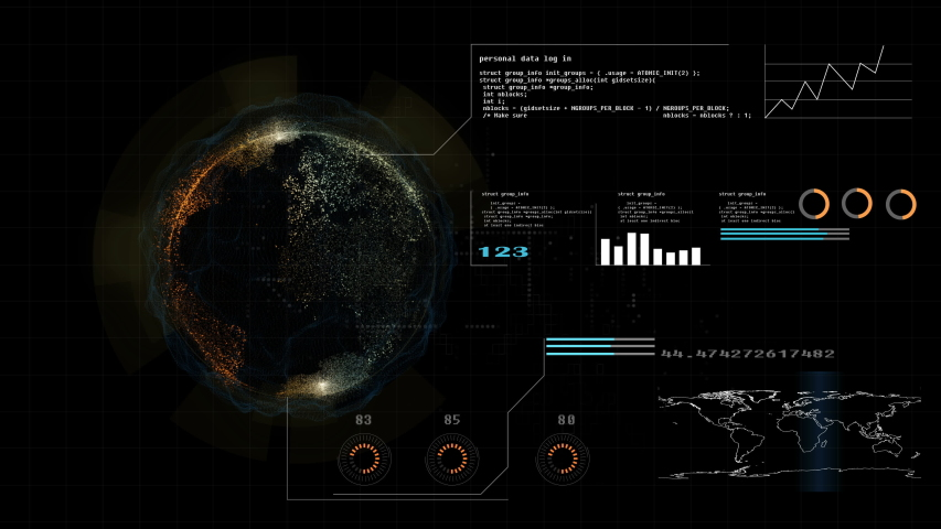 Hi technology interface, 4K footage hud global interface and technology, abstract technology ui futuristic concept hud interface hologram elements of digital data chart, This element finished by NASA | Shutterstock HD Video #1031785136