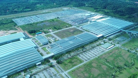 Proton City, Malaysia, June 20 2019 - Aerial view footage of Proton Geely manufacturing At Proton City Tanjong Malim Malaysia