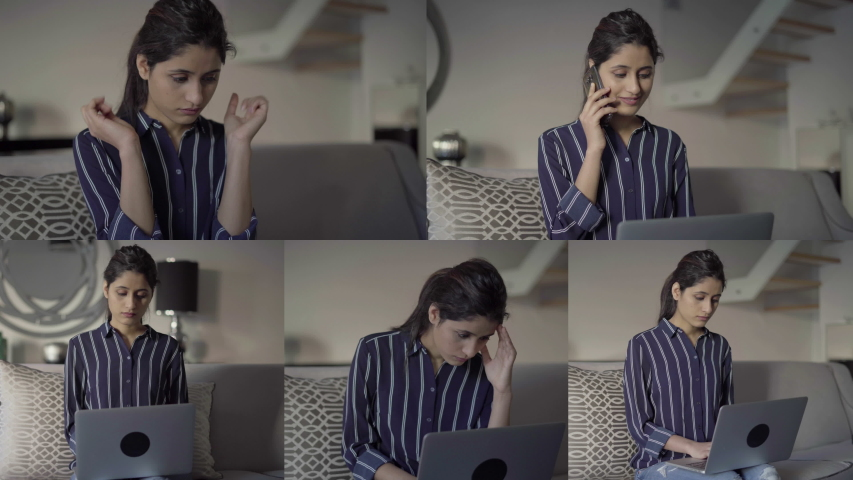 Collage of pretty young woman being inside, talking on phone, working on laptop, thinking hard, massaging temples. Work, freelance concept | Shutterstock HD Video #1031810096