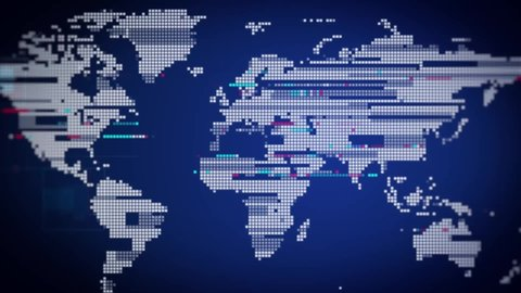 Digital Blue World Map. Animated Dots World map with visual effects and glowing connections in different places on the map. Perfect for slideshows, presentation, trailers, sci-fi openers