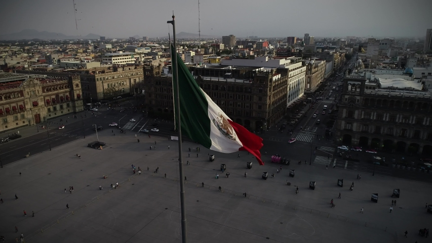 Bandera de Mexico en zócalo capitalino drone view | Shutterstock HD Video #1031865476