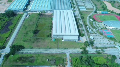 Proton City, Malaysia, June 2019 - Aerial Tilt Up Cinematic Footage Of Proton Manufacturing At Proton City Tanjong Malim Malaysia