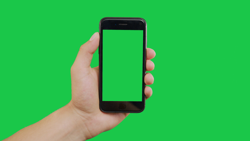 New York, USA - June 20, 2019: Finger Swipes Left Smartphone Green Screen. Pointing Finger Clicking On Phone Screen with Green Background. Use in any project that depicts finger, gesture, touchscreen | Shutterstock HD Video #1031905136
