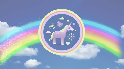 Digital animation of a pink unicorn with yellow mane inside two concentric  circles of pink and yellow, surrounded with icons of flower, sun,  butterfly, clouds, and heart  a rainbow appeared and formed