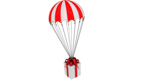 Box with a gift flying on a parachute. Gift box flying on a parachute. Isolated. Footage video