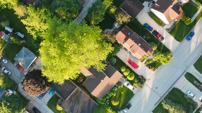 Aerial view of residential houses at summer. American neighborhood, suburb.  Real estate, drone shots, sunrise, sunlight, from above. | Shutterstock HD Video #1031953616