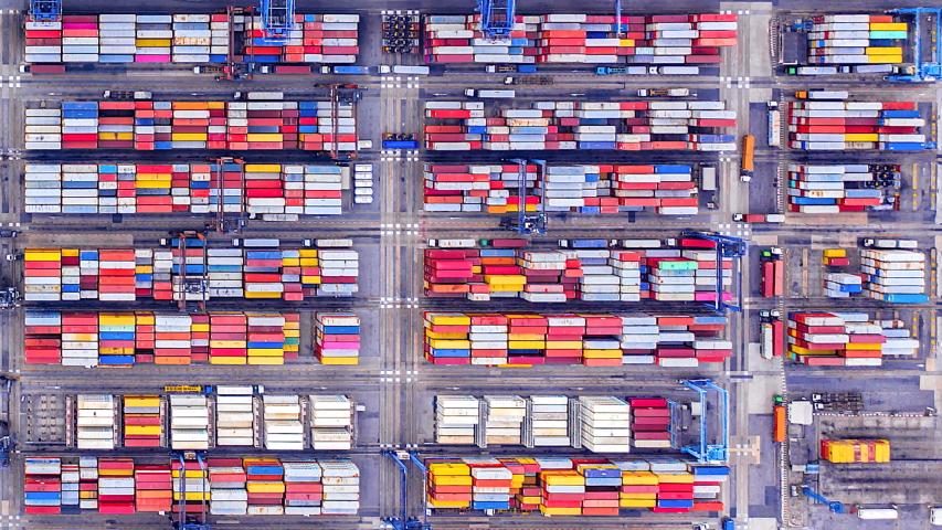 4K Timelapse of modern industrial port with containers from top view or aerial view. It is an import and export cargo port where is a part of shipping dock | Shutterstock HD Video #1032025886