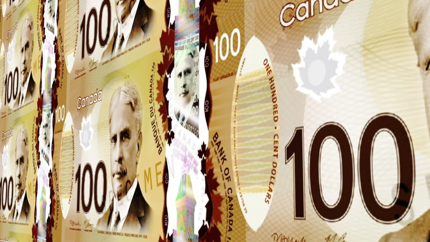 Canadian 100 Dollar bank noted   Shutterstock HD Video #1032038396