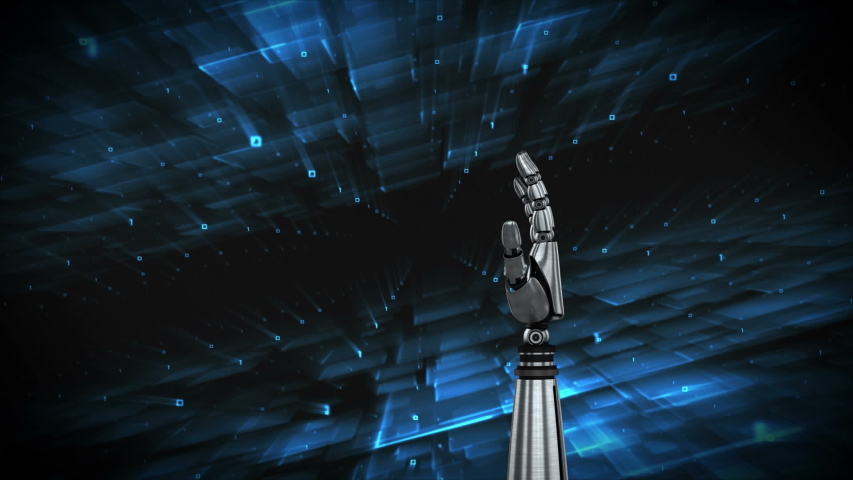 Digital animation of robot arm with a background filled with connected lines and dots. It indicates subscription for social media | Shutterstock HD Video #1032087686