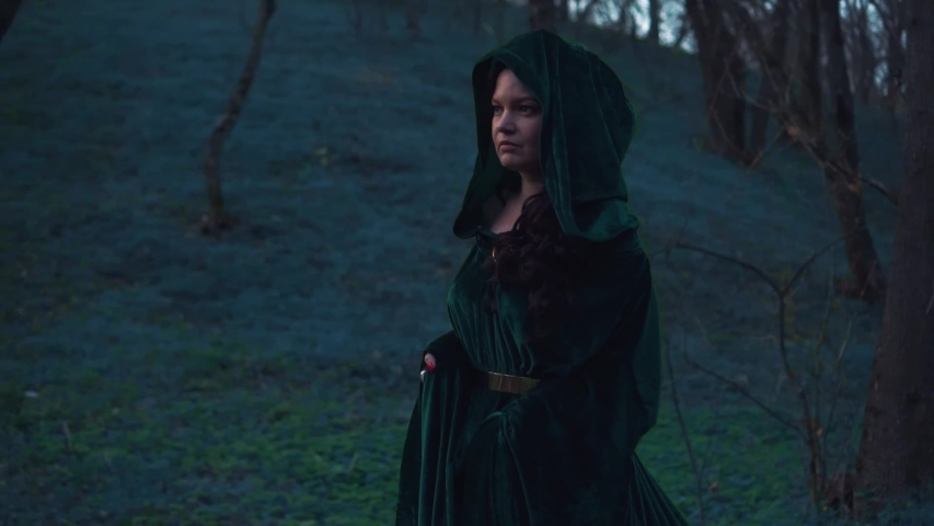 Mysterious dark story about the great evil witch in a dark velor emerald raincoat, magician with black twisted hairs walks slowly through mysterious forest alone, wise woman looks into camera   Shutterstock HD Video #1032279266