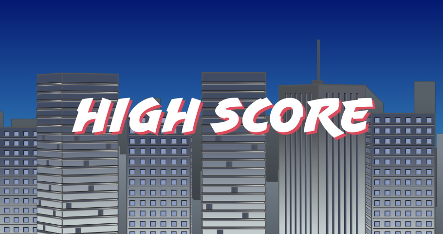 Digital animation of a white High Score sign zooming in the screen while background shows grey buildings and the blue sky | Shutterstock HD Video #1032441416