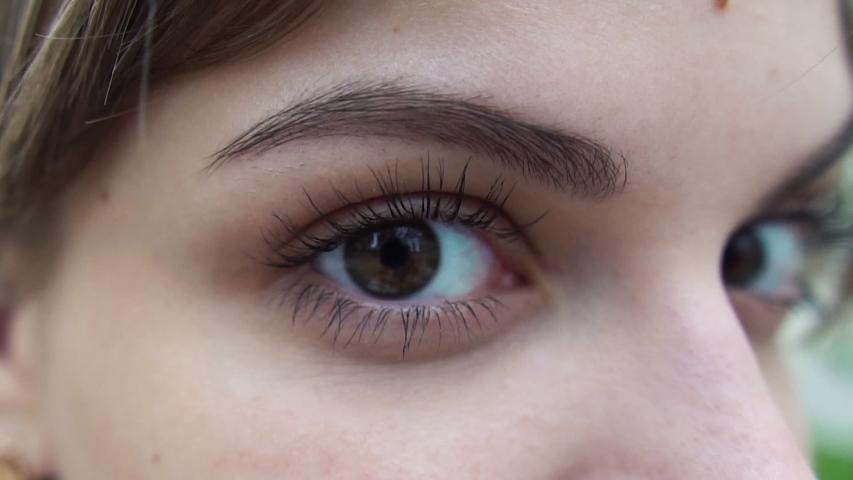 Close up beautiful brown eye opening human iris macro natural beauty, woman, macro   Shutterstock HD Video #1032458366