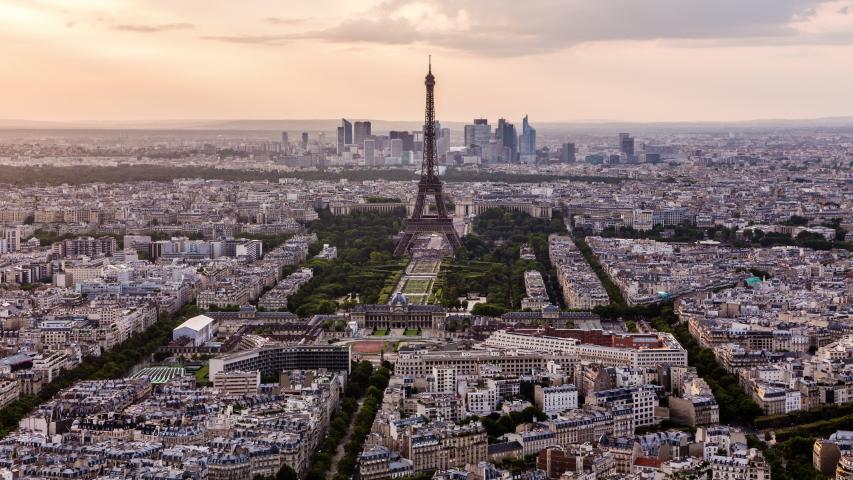 Eiffel tower & Paris downtown time lapse | Shutterstock HD Video #1032608726