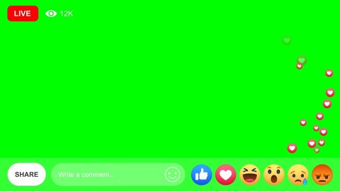Thailand - 5 july 2019: social media live streaming emotion heart icon come  across on green screen from bottom to top direction
