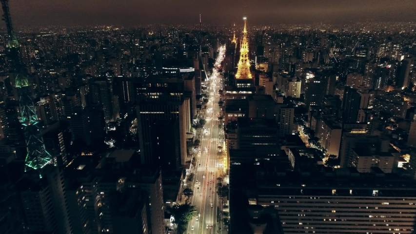 São Paulo, Sao Paulo / Brazil - Circa May 2019: Night aerial image made with drone on Avenida Paulista, commercial center of the city of São Paulo, Brazil.