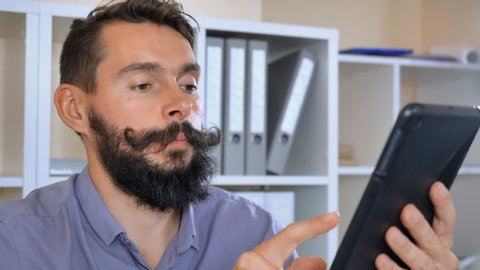 Bearded Handsome Man Has Online Stock Footage Video (100
