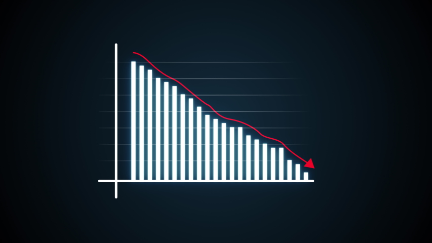 Animated business infographic chart showing decrease in profits and financial decline. 4k financial diagram with appearing animated descending arrow, bar stats, lines and digital effects. Business | Shutterstock HD Video #1032826616