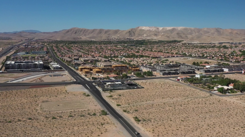 Drone Flight Over Las Vegas Nevada Suburbs | Shutterstock HD Video #1032843566
