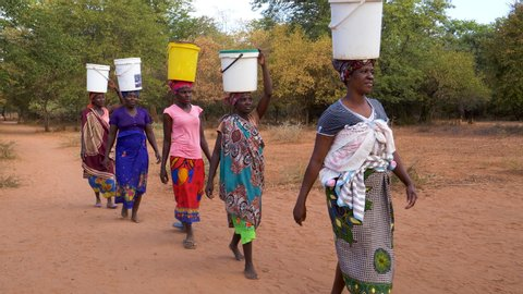 Water journey. Five woman and a baby make the long journey home carry water in plastic containers on their heads after pumping it from a communal water pump, Zimbabwe