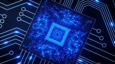CPUs and other GPUsshoot bright blue electrons around a circuit board as the camera pans around the motherboard with a shallow depth of field. 4K animation