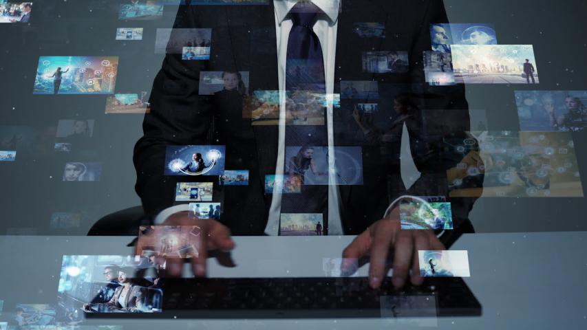 Screens of multimedia concept. Social media. Streaming video. | Shutterstock HD Video #1033004666