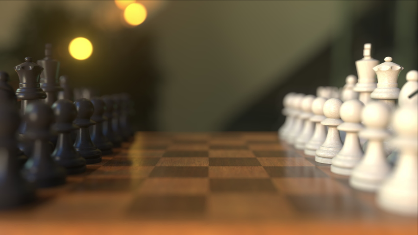 Chess game. The first two pawn moves. Chessboard close-up, realistic 3D animation